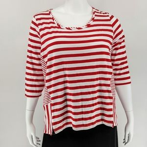 Onque Casuals Red/White Stripe Top Size 1X